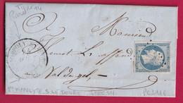 N°14 BLEU LAITEUX CAD TYPE 14 BLEU LAITEUX PC 3116 SAINT HIPPOLYTE SUR LE DOUBS POUR LE VAL D'AJOL VOSGES INDICE 15 - 1849-1876: Klassieke Periode