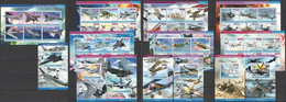 PE 2015 TRANSPORT HISTORY WAR AVIATION HELICOPTERS !!! 7BL+7KB MNH - Airplanes