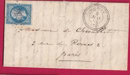 N°22 GC 3454 SOUPPES SEINE ET MARNE CAD TYPE 22 POUR PARIS - 1849-1876: Klassieke Periode