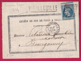 N°29 GRIFFE DE GARE VIELLEVILLE CREUSE AMBULANT PERIGUEUX A PARIS BUREAU PASSE 947 CHATEAUROUX INDRE - 1849-1876: Klassieke Periode