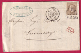 N°30 GC 2502 MONTPELLIER HERAULT POUR GUERNESEY ANGLETERRE 1872 - 1849-1876: Klassieke Periode