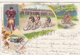 9932) ALL HEIL - Radsport - Radrennen - Tandem - Fahrradlicht - Sturz M. Fahrrad - LITHO BREMEN 19.8.1897 - Cycling