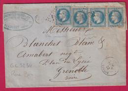 N°29 BANDE DE 3 + UN GC 3234 ROYBON ISERE OR PEROUZET POUR GRENOBLE - 1849-1876: Klassieke Periode