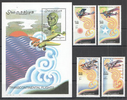 NW1441 2001 SOMALIA SOOMAALIYA TRANSCONTINENTAL FLIGHT #906-909+BL82 MICHEL 30 EURO MNH - Airplanes