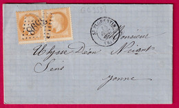 N°28 PAIRE VARIETE PICQUAGE GC 3598 ST FLORENTIN YONNE POUR SENS - 1849-1876: Klassieke Periode