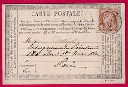 N°54 PARIS R BONAPARTE CARTE PRECURSEUR POUR PARIS - 1849-1876: Klassieke Periode