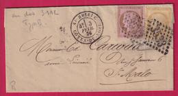 N°54 55 GC 3533 CAD TYPE 18 ST BRIEUC COTES DU NORD POUR ST MALO BUREAU DE PASSE 3112 RENNES - 1849-1876: Klassieke Periode