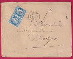 N°60 PAIRE GC 691 CAEN CALVADOS TAXE MANUSCRIT 5 POUR VALOGNES - 1849-1876: Klassieke Periode