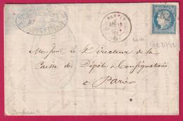 N°37 GC 2782 PANTIN SEINE 13 JUILLET 1871 POUR PARIS BELLE FACTURE DOUBLE PORT RECETTES REUNIES - 1849-1876: Klassieke Periode