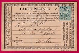 N°65 PARIS DEPART POUR PARIS CARTE PRECURSEUR - 1849-1876: Klassieke Periode