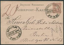 DT.REICH 1887, ROHRPOST-PK, RP 6, ROHRPOST-STPL CHARLOTTENBURG, AK BERLIN, TOPP! - Cartas