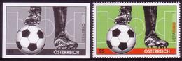 Austria Blackprint Proof + Issued Stamp - Soccer - UEFA - Championnat D'Europe (UEFA)