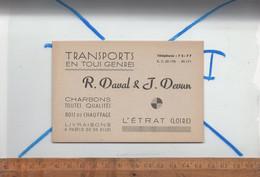 Carte De Visite : Transports En Tous Genres Charbons Bois  R DAVAL & J DEVUN à L'ETRAT Loire 42 - Cartoncini Da Visita