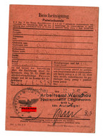 GG: Arbeitsamt Warschau/Legionowo 1942: Wächter, Kalisz - Historical Documents