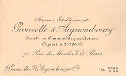21-P-PLT.3478 :  CARTE DE VISITE  GROUVELLE & ARQUEMBOURG. SOCIETE EN COMMANDITE PAR ACTIONS. PARIS RUE MOULIN-VERT - Cartoncini Da Visita