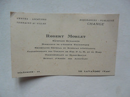 VIEUX PAPIERS - CARTE DE VISITE  : Robert MORLET - Correspondant Des Chemins De Fer P.L.M. - Didot-Bottin - Change - Cartoncini Da Visita