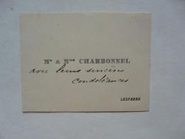 VIEUX PAPIERS - CARTE DE VISITE  : Mr & Mme CHARBONNEL - Cartoncini Da Visita