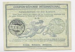 HELVETIA SUISSE COUPON REPONSE INTERNATIONAL NEUVEVILLE 17.1.1916 - Antwortscheine