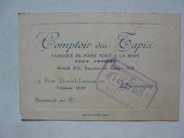 CARTE DE VISITE  : COMPTOIR DEA TAPIA - Fabrique De Point Noué à La Main  - Médaille D'Or, Exposition De LIMOGES 1924 - Cartoncini Da Visita