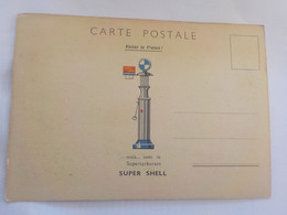 CPSM  PUBLICITE POMPE ESSENCE SUPERCARBURANT SUPER SHELL / KAYSERBERG ANCIENNES DEMEURES - Reclame