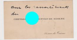 CHEVALIER De Menten De Horne Rue De Trèves  Bruxelles Vers 1920 - Cartoncini Da Visita