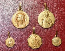 """Lot De 5 Pendentifs Médailles Religieuses Doré Années 30 """"ND De Lourdes, Ste Thérèse, Jésus Christ"""" Religious Medal - Religion & Esotericism"""