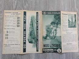 Société Nationale Chemins De Fer Belges (Folder - Dépliant) Tournai, Marche-les-Dames, La Roche, Hastière, Bornhem, - Tourism Brochures