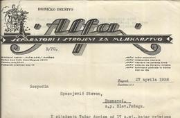 Croatia Agriculture , D.D. Alfa Zagreb - Za Gosp. Busnovci Slavonska Pozega 1938 - Separators And Machines For Dairy - Other