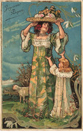 JOYEUSES PAQUES #27055 FEMME FILLETTE ART NOUVEAU DORE DORURES CARTE GAUFREE - Pâques