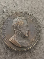 Antoine De Bourbon (père D'Henri IV) - Médaille Bronze 1560 / 38 Mm 25,3 G - Royal / Of Nobility