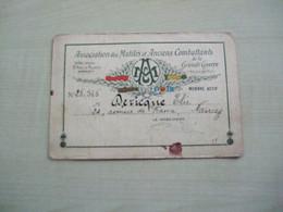Carte D'identité 1929 ASSOCIATION DES MUTILES ET ANCIENS COMBATTANTS Dericque Elie - Documentos
