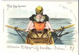 Hipp, Hipp Hurra! - Frau Im Ruderboot V. 1900 (45584) - Humour