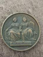RARE Médaille LEOPOLD I LOUIS PHILIPPE Inauguration Ligne De Chemin De Fer Bruxelles Paris 14 Juin 1846 35 Mm 25,13 G - Royal / Of Nobility
