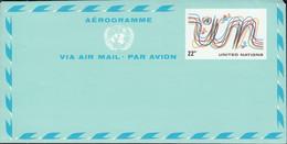 """UNO NEW YORK  Luftpostfaltbrief LF 8, Ungebraucht, """"UN"""", Vögel 1977 - Luftpost"""