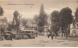 91 MONTGERON #26893 PLACE DE LA GARE CAFE AUTOMOBILES AUTOS CHAUFFEURS TAXIS - Montgeron