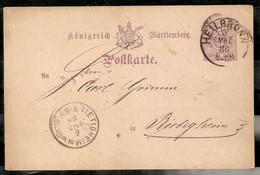WURTTEMBERG. 1886. HEILBRONN NACH BIETIGHEIM - Wuerttemberg
