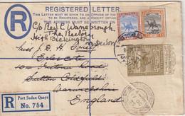 "SOUDAN EGYPTIEN  :  ENTIER POSTAL  . AVEC COMPlt D'AFFRt  . REC .  "" PORT SUDAN QUAYS "" .  1935 . - Sudan (...-1951)"