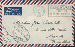 Indochine FM CAD Poste Aux Armées T.O.E. 29 7 1953 Flamme Indiquez Toujours Numéro Secteur Postal Cachet F.A.V.N SP 4003 - Covers & Documents