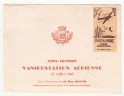 Journée Aéronautique Manifestation Aérienne Chateauroux 36 Indre 1947 Carte Et Vignette - Aviation