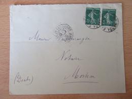 Timbres Semeuse 5c N°137 Sur Enveloppe - Tonnerre Vers Morteau - 1910 - 1877-1920: Periodo Semi Moderno
