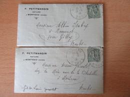 Timbre Semeuse 15c N°130 Sur 2 Lettres D'un Notaire De Morteau - Circulées En 1918 - 1877-1920: Periodo Semi Moderno