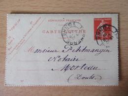 Entier / Carte-lettre Type Semeuse 10c - Tonnerre Vers Morteau - 1909 - Cartoline-lettere