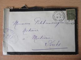 Timbre Semeuse 15c N°130 Papier GC Sur Enveloppe - Contrôle Militaire - Nancy Vers Morteau - 7 Février 1918 - 1877-1920: Periodo Semi Moderno