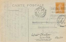SEMEUSE 141 Obl CàD 4/8/21 SEUL Sur CP ETRANGER > OXFORD Angleterre RÉEXPÉDIÉE - UK - 1921-1960: Periodo Moderno