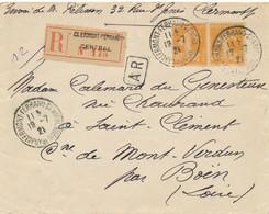 SEMEUSE 141 Paire Sur Lettre Recommandée AR > St Clément Loire - CàD CLERMONT FERRAND CENTRAL 19/7/21 PUY DE DÔME - 1921-1960: Periodo Moderno