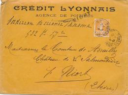 SEMEUSE 141 PERFORÉ CL NIORT 6/9/09 SEUL Sur Lettre 3è ECHELON - DEUX-SEVRES Credit Lyonnais Agence De Niort - 1921-1960: Periodo Moderno