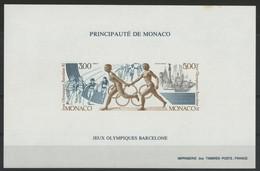 "MONACO Cote 270 € BLOC SPECIAL NON DENTELE N° 16a ""J.O. Barcelone 1991, Olympic Games Of Barcelona"" Neuf ** (MNH) - Blocks & Kleinbögen"