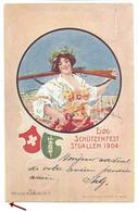 St Gallen, Tir Fédéral, Eidgenossisches Schützenfest 1904. Sonderstempel + Vignette. Femme. Fusil. - SG St-Gall