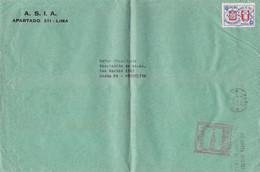 PERU ENVELOPPE AVEC MACHINE A AFFRANCHIR ET TIEMBRE. CIRCULEE ANNEE 1960, LIMA A SANTA FE ARGENTINE. GRAND FORMAT- LILHU - Peru