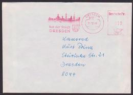 "Dresden Rat Der Stadt ""VdN Betreuungsstelle"" AFS =DP 010= 1990 Ortsbrief, Abb. Elbebrücke Frauenkirche Silhuette - Poststempel - Freistempel"